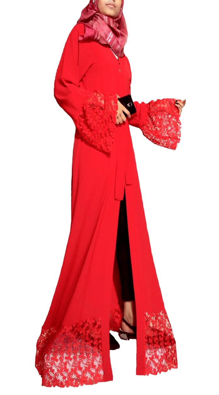 RED LACE ABAYA